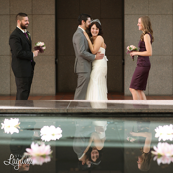 small wedding, Minneapolis elopement, city hall, plum bridesmaid dress, custom suit, grey, reflections, Gold Medal Park, autumn, DIY,